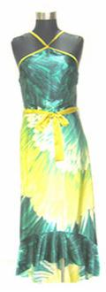 Green & Yellow Satin Dress S10
