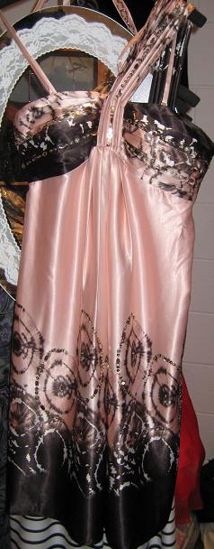 One Shoulder Satin Apricot Sparkle Dress S10