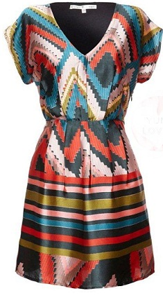 Aztec Satin Dress S6/8, 10/12