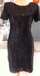 Black Sequin Sleeved Dress S8,12  Aline S14 similar S16