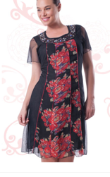 Black with Floral Sleeved Chiffon Dress S12