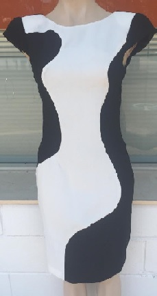 Black White Stretchy Dress S8