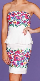 White Peplum Blossom Dress S12