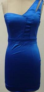 One Shoulder Short Satin Dress  Blue S12 Blk  S12/14