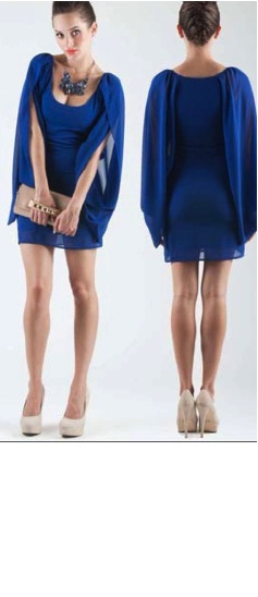 Blue Chiffon Sleeved Dress S8