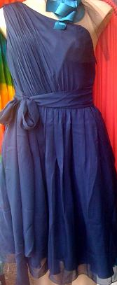 One Shoulder Navy Chiffon Dress S8,10