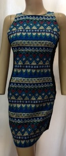 Blue Print Body Con Dress S10/12