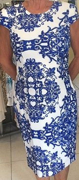 Cocktail Blue White Print Dress S16,18