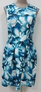 Corine Blue White Floral Race Dress S8,10,12