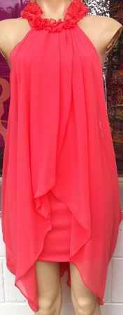 Grace Coral Chiffon Dress S8