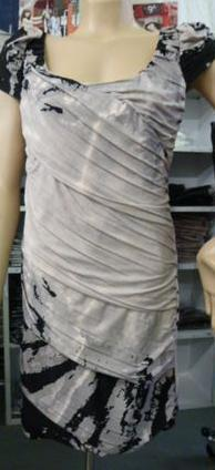 Grey Short Sleeve Dinner Dress S14