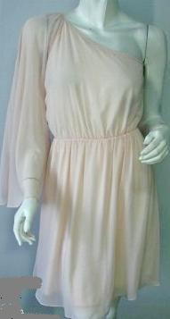 One Shoulder Chiffon Dress Pale Apricot/Pink S6,8,10,12