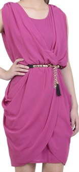 Violet Chiffon Drape Dress S12