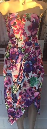 Bright Floral Drape Dress S8,10,12