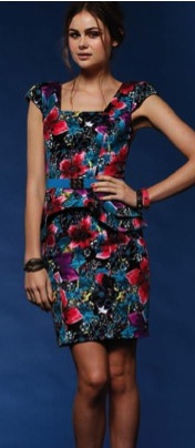 Bright Floral Peplum Dress S14