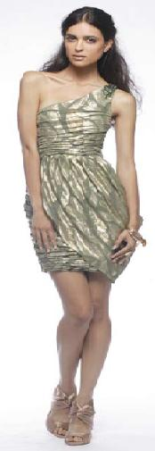 One Shoulder Gold Print Dress S8