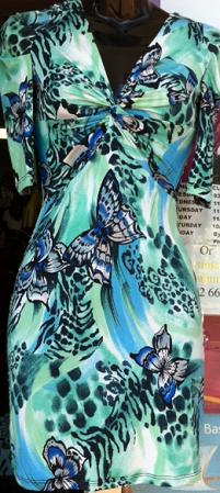 Green Butterfly Print Dress S8,10,12