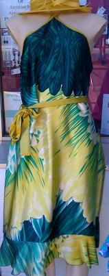 Green & Yellow Satin Knee Length Dress S,L,XL
