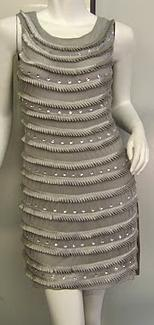Grey Beaded Sleeveless Dress S8-14
