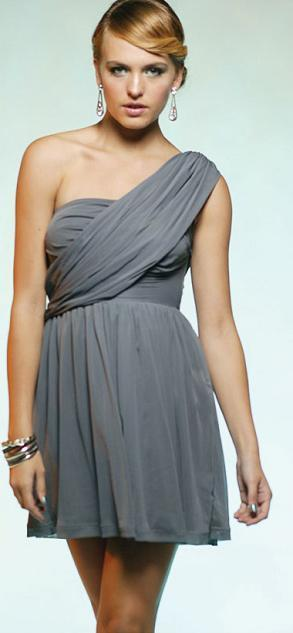 One Shoulder Grey Mesh S10,14