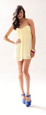 Yellow Strapless Chiffon Dress S10/12