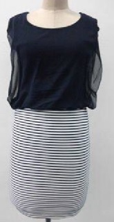 Navy Chiffon Striped Dress S8,10,12