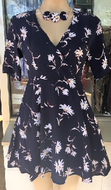 Navy Floral Flare Dress S8,10,12,14