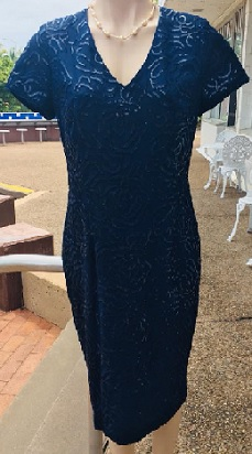 Navy Sequin Evening Dress S10,12,14