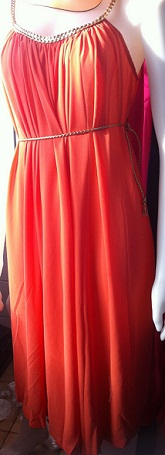 Orange with Gold Trim Dress S8-14