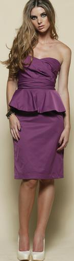 Strapless Frill Knee Length Plum Dress S8