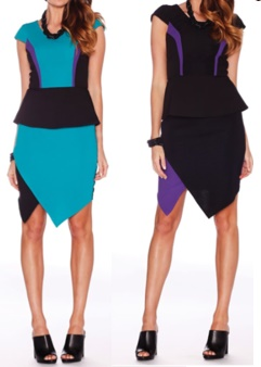 Peplum with Hem feature Blue S10 Purple S14