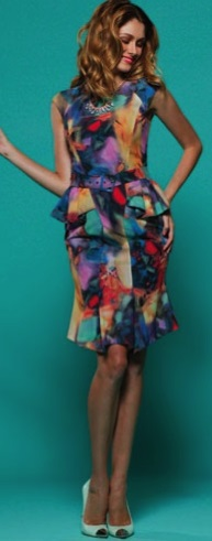 Peplum Dress Follow Print S12,14,18