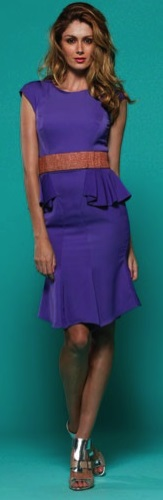 Peplum Dress Purple S10,14,16 Red S12,14,16