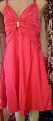 Hot Pink Satin Dress S12
