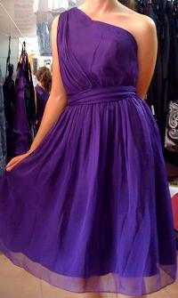 One Shoucler Knee Length Chiffon Dress Purple S6,8