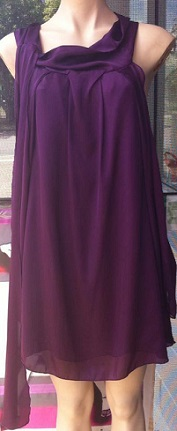 Purple Cowl Neck Short Dress / Tunic S8,10