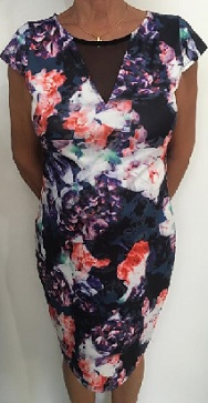 Purple Floral Body Con Dress S8,10,12,16 Pink S8