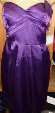 Heart Pockets Satin Dress Purple  S8,10