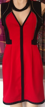 Red Black Zip Dress S6/8, 8/10
