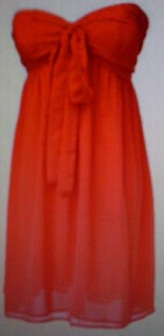 Red Strapless Babydoll Chiffon Dress s8,10