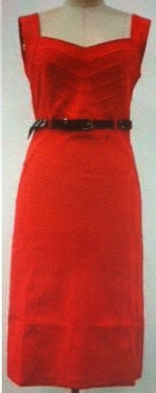 Red Peplum with Black Belt ( Stretch Fabric) S14