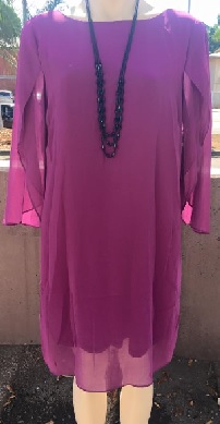 Sleeved Chiffon Dress  Magenta Sold out Apricot S10,14,16,18 Navy S10,12,14,16,18