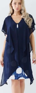 Navy White Circle Dress S8/10, 10/12