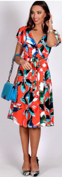 Red Print Aline Dress S10,14,16,18