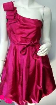 One Shoulder Fushia Tafetta Pink  Dress S12