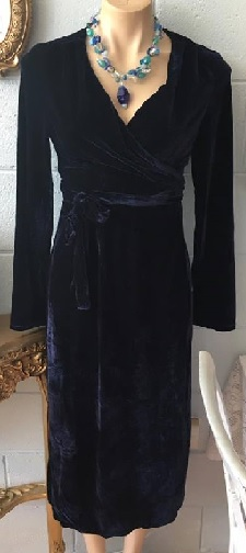 Velvet Navy Wrap Dress S10/12, 12/14