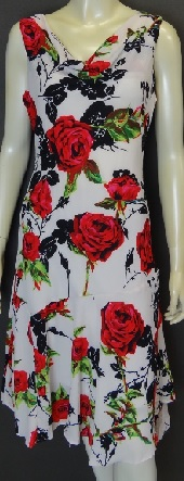 cowl neck White Red Rose S10,12