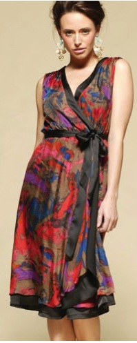 Wrap Print Silk Dress S8/10,12/14