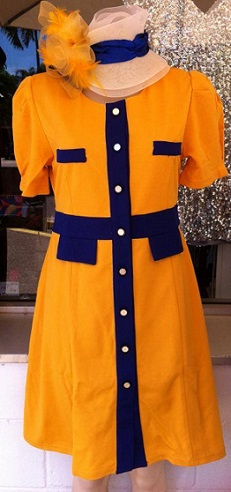 Yellow Blue Button Dress S10,14,16